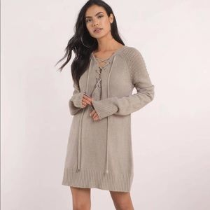 Never Forget You Lace Up Sweater Taupe Large TOBI